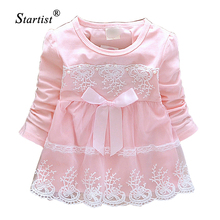 Promotion 2015 Baby Girls Dresses Robe Fille Enfant Lace Flower Long Sleeve Baby Cotton Dress Clothing Casual Baby Infant Dress