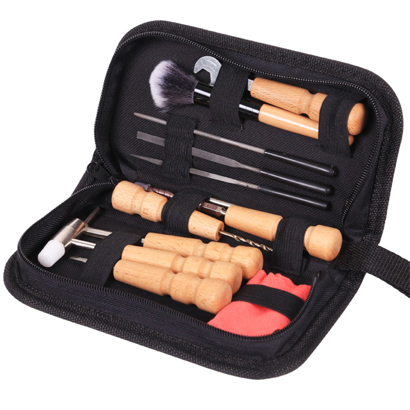 Acoustic Guitar tools Bag Set Guitar Repair File  Kit Nut Files Ruler Turner Gauge Measurement Tool String Winder 11pcs <br>