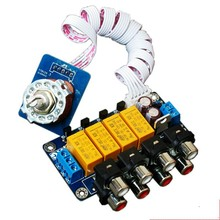 1pcs Four audio source selector switch board + switch + cable( finished board )