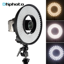 Photography DVR-300DVC Dimmable LED Ring Selfie Video Light Camera Photo Studio Continuous Ring Lamp for Canon Nikon DSLR Camera(China)