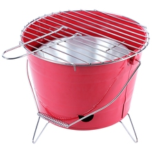 Portable Bucket Shape Barbecue Grill Portable Folding Outdoor Stoves BBQ Grill Barbecue Cooking Folding Iron Grill Red Body