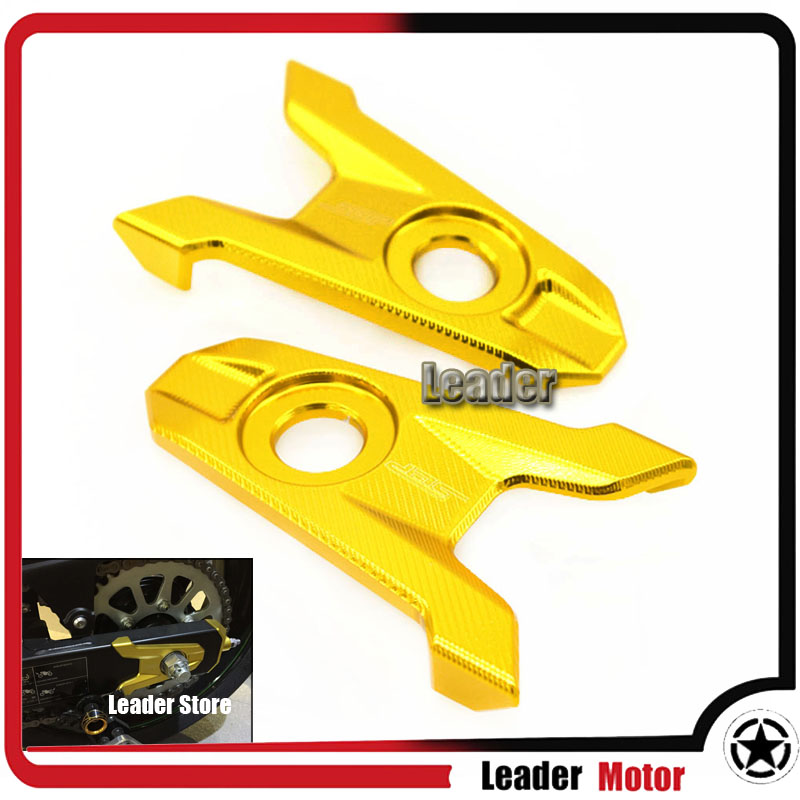 For Kawasaki Z800 2013 2014 2015 2016 Motorcycle Accessories CNC Aluminum Rear Axle Spindle Chain Adjuster Blocks Gold<br>