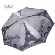 High Quality Winter Scenery Cloudy Sky Paris Tower Automatic Umbrella  Anti-UV Rain Sun Umbrellas Men Women Parasol