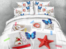 HOT 3d bedding queen size bedspread bed cover comforter sheets set twin full king size woven 500TC butterfly starfish boat shell(China)