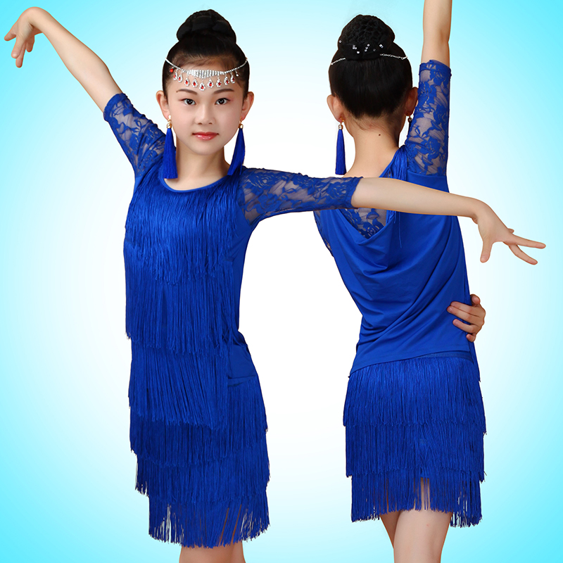Girls Latin Dance Competition Costumes Childrens Practice Latin Dance Skirt Girl Tassel Lantin Dance Sets With Safety Pants<br>