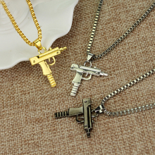 Uzi Gun Charm Pendants Necklaces Chain Necklace for Men Women Gold Rose Silver Jewelry Gifts