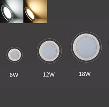 Dimmable 6W 12W 18W LED Panel Downlight Round Glass Panel Lights Ceiling Recessed Lamps For Home Hotel Lighting AC 220V 240V