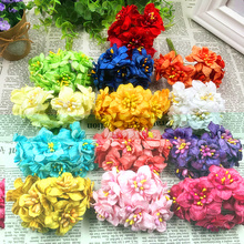 6 PCS (4 cm/flower) artificial stamens silk cloth dry flower bouquet things for DIY wreath wreath collage wedding decoration(China)