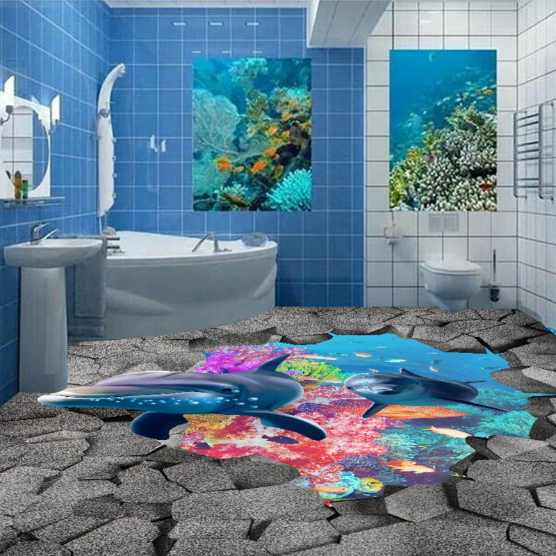 Free Shipping high quality Underwater world 3D flooring wallpaper bathroom restaurant toilet self-adhesive floor mural<br>
