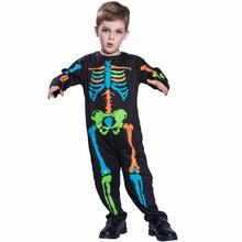 Carnival Anime Costume Halloween Costume For Kids Scary Boy Skeleton Costume Black Pyjama Jumpsuit Halloween Boys Cosplay 2017(China)