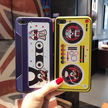 DTFQ Fashion Cartoon DJ Turntable Casette Tape Hybrid Hard Acrylic Back Cover + TPU Soft Frame Cover for iPhone 6s 7 8 Plus(China)