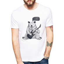 New Summer t-shirt Vintage Retro Punk Sketch Bear Mens T-shirt novelty design Top tee fashionable Bear let's rock(China)