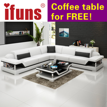 IFUNS l shape corner white cow leather chesterfield sofa modern leather sectional sofa set living room furniture (fr)
