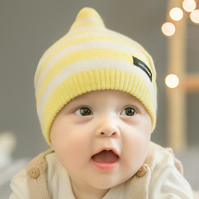 CieiK Newborn Photography Props Soft Baby Hat Warm Children Winter Cap Boys Girls beanie Infant Striped Muts Baby Accessories (15)