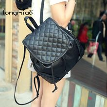 longmiao Women Backpack Ling Plaid Trendy Backpacks for College Teenage Girl Books Bag Quality Leather Girl Black Backpack(China)