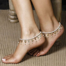 New Charm Cheap Anklets for Women Jewelry Trendy Foot Jewelry Imitation Pearls Tassel Inlaid Crystal Ankle Chain BW631