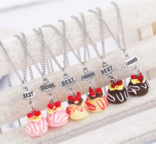 Free shipping Best Friends BFF cute resin cake pendant bead chain necklace,3 colors lead nickel cadmium free kids jewelry