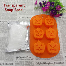 DIY Handmade Soap Set 250g White Soap Base And 6 Holes Pumpkin 3D Silicone Mold Raw Materials Base Christmas Halloween DIY Gift(China)