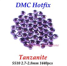 DMC Tanzanite SS10 2.7-2.8mm Glass Crystals Hotfix Rhinestone Iron-on Rhinestones Shiny DIY Garment Bag With Glue