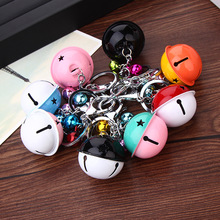 [4Y4A] New metal paint bell key chain simple two - color ornament universal key chain