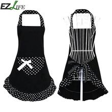 1pcs Cotton Black Sleeveless White Polka Dot Frill Apron With Pocket for Cafe Home Kitchen Cooking  Lovely Princess Style JK0622