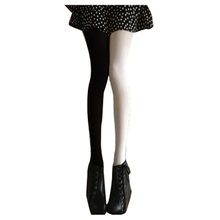 Buy Hot Sexy Women's Patchwork AB Velvet Candy Color Elastic Pantyhose Stockings black white