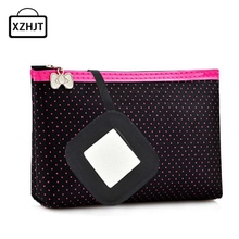 2017 Women Cosmetic Bag Rectangle shaped Dots pattern Portable Cute Multifunction Beauty Travel Cosmetic Bag Makeup Case