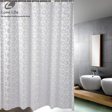 New Home decor Bathroom Shower Curtain With Hooks European Style White flower shower curtains PEVA Waterproof Bath curtain