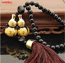 HARBLL car pendant accessories Gold Plated Double Gourd Glass Beads Amulet for Safe Driving Lucky Blessing Car Pendant(China)