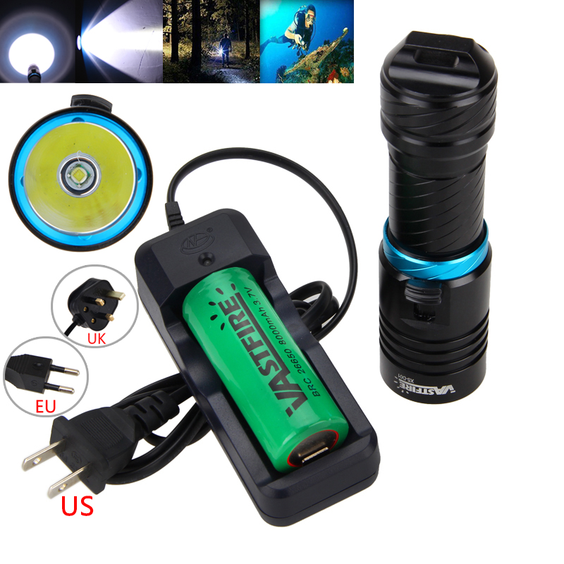 Black Underwater 100m 10000LM T6 LED Scuba Diving Flashlight Torch Light with 26650 Battery and Charger<br>