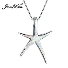 JUNXIN Unique White Fire Opal Starfish Pendant Necklaces For Women 925 Sterling Silver Filled Animal Charm Necklace Party Gifts(China)