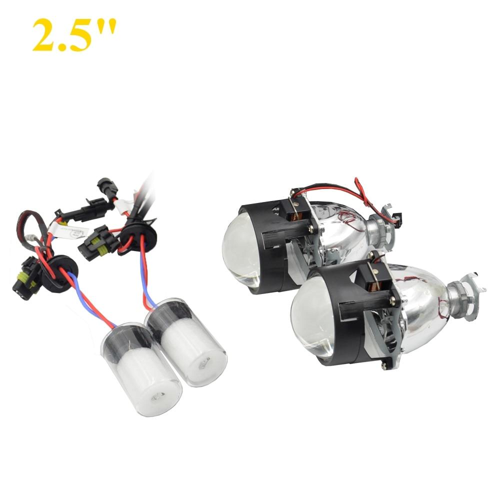 2pcs 2.5 inch Bi xenon Bixenon bi-xenon Projector lens with hid xenon bulb H1 H4 H7 car hid projector lens headlight Headlamp <br>