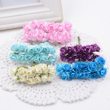 144pcs/lot 1.5cm Valentine Gift MIni Artificial Paper Rose Flowers Bouquet artificial flowers for wedding car decoration(China)