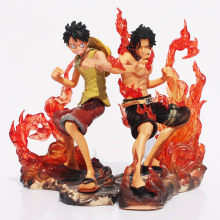 2pcs/set 15cm One Piece DX Luffy Ace Brotherhood Anime Cartoon 2 Years Later PVC Action Figure Toys Battle Ver Model Dolls