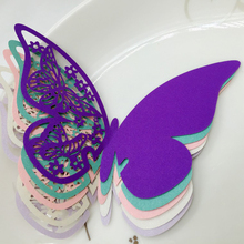 50X Purple Butterfly Table Mark Wine Glass Place Cards Wedding Name Cards For Wedding Party Bar Decor
