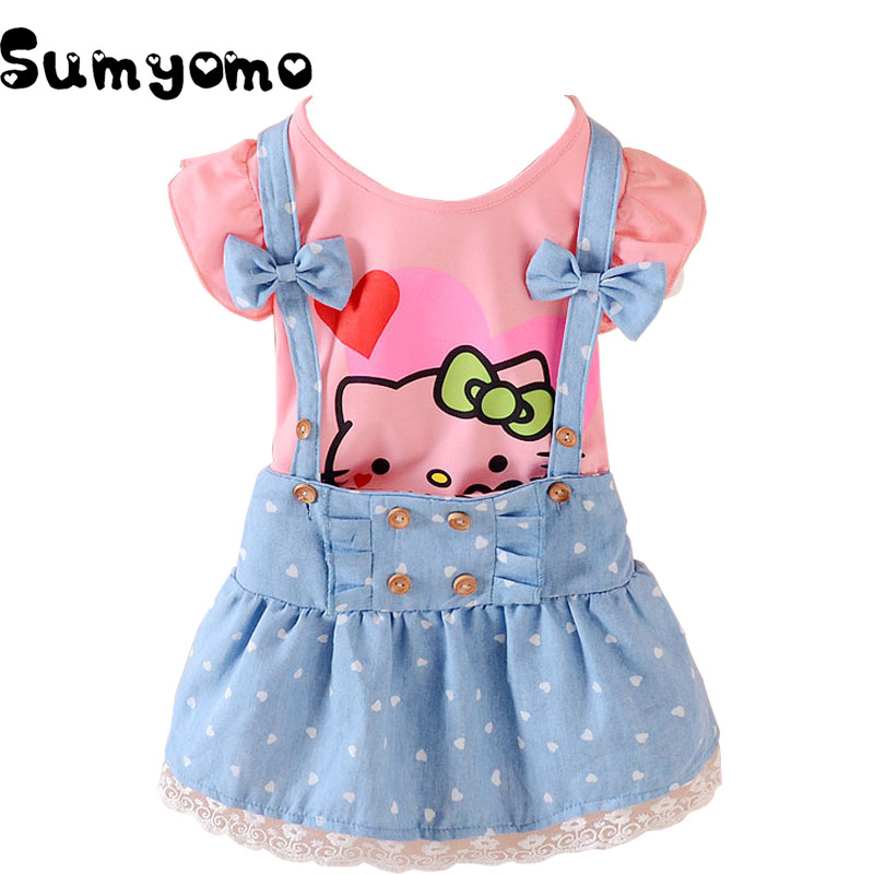 Clothing Set Baby Girls Clothes Hello Kitty Tshirt Jean Polka Pant Casual Children Sports Clothing Infant Sports Suit Outfits(China)