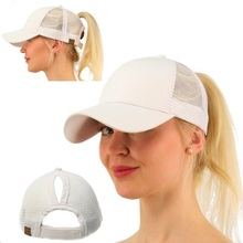 Newest 1pcs sell female Ponytail hair casual Sun snapback hat girls outdoor sport Women Trucker Baseball Cap