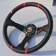Free Shipping: Carbon Fiber Look T-R-D Auto Steering Wheel 350mm Racing Car Steering Wheel Deep Dish