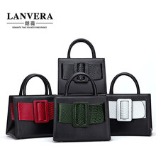 LANVERA Designer Limited Edition Crocodile Genuine Leather Squared Women Handbags Fashion Patchowrk Crossbody Shoulder bags