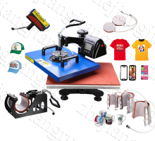Big Size 32*45CM LCD 8 In 1 Combo Heat Press Machine for Mug/Cap/T Shirt/phone Case Heat Transfer Machine,Sublimation Printer