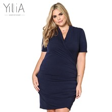 Buy Yilia New Plus Size Dresses XXXL Summer Fashion 2017 Casual Black Party Dress Women Clothing v-neck Short Sleeve Pencil Dress for $18.66 in AliExpress store