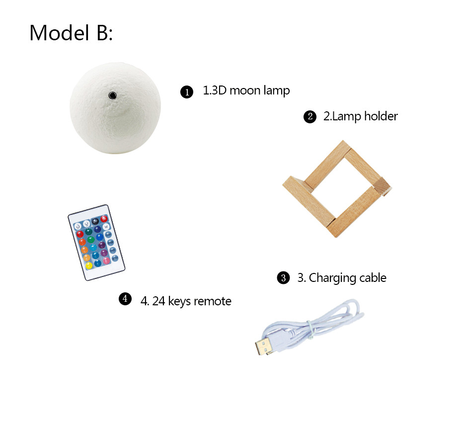 3D Full Moon Lamp Led Night Light USB Rechargeable 3D Print Moon Lamp Touch 2 Color Change / 16 Colors Lampara Luna Lamp Moon 11