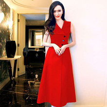 Work Women Dresses Topshop Sleeveless Fashion Star Style Vest Single Breasted Summer Pretty 2017 Red / Black Incity Dress