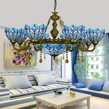 Mediterranean Sea bar Parlor 6 8 heads Living room Crystal Chandelier Tiffany Stained glass foyer shops Pendant lamps 110-240V