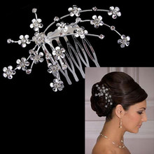 New Fashion Charm Bridal Hair Accessories Wedding Accessories Party Plum Flower Rhinestone Hair Pin Jewelry Casamento KopoHa