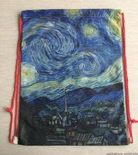 2017 New arrival Drawstring Backpack Bag Pockets Shoulder Bag hand - painted Van Gogh Star painting art Bags