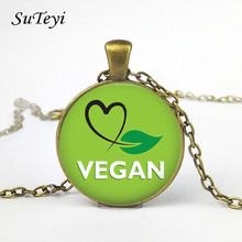 SUTEYI Vegan diet Glass Cabochon Necklace vegetarian diet go organic Jewelry Black Multilayers Charms Necklace for Womens Mens(China)