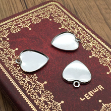 ZEROUP 10pcs 16mm Silver White Plate Cabochon Base Necklace Pendant Setting Heart Shape Cameo Blank Tray Jewelry Making Findings