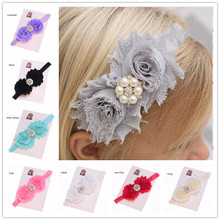 1pcs Shabby Chic Headband chiffon flower   headband Newborn     headbands chiffon flower   headband   Hair bow