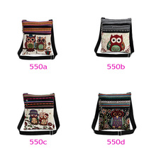 Fashion Ethnic Style Women Messenger Bags Dual Zipped Cartoon Owl Embroidered Shopping Dating Ladies Girls Shoulder Bag(China)
